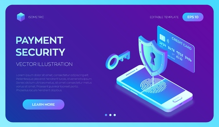 Secure payments. Data protection concept. Personal data protection. Credit card check and software access data as confidential. 3d isometric flat design. Vector illustration Vecteurs