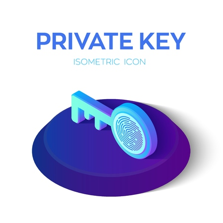 Private key. Digital key with Fingerprint 3D Isometric Icon. Cyber security and access. Created For Mobile, Web, Application. Perfect for web design, banner and presentation. Vector Illustration