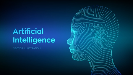 Artifactial intelligence concept. Ai digital brain. Abstract digital human face. Human head in robot computer interpretation. Robotics concept. Wireframe head concept. Vector illustration.