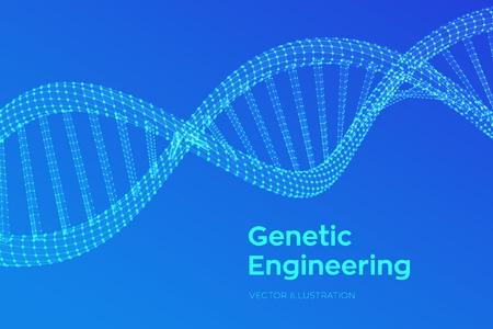 Séquence d'ADN. Filaire de structure de molécules d'ADN maillage. Modèle modifiable de code ADN. Concept de science et technologie. Illustration vectorielle Vecteurs