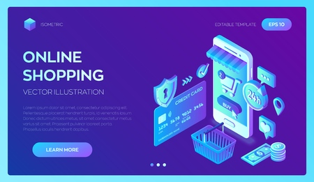 Online shopping. 3D isometric online store. Shopping Online on Website or Mobile Application. Concept of e-commerce sales, digital marketing. Bank card, money and shopping bag. Vector illustration 일러스트