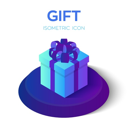 Gift box. 3D gift box isometric icon. Present box with ribbon and bow. Created For Mobile, Web, Decor, Application. Perfect for web design, banner and presentation. Vector Illustration