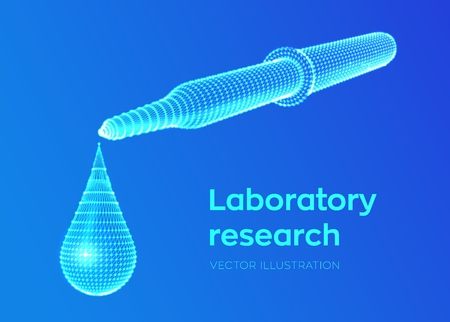 Dispensing pipette with emerging drop. Laboratory research. Wireframe medical pipette with liquid and falling droplet. Scientific pharmaceutical or biochemistry research concept. Vector illustration