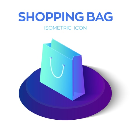 Shopping Bag. 3D Isometric Shopping bag Icon. Created For Mobile, Web, Decor, Print Products, Application. Perfect for web design, banner and presentation. Vector Illustration 矢量图像