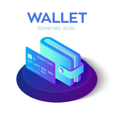 Wallet Icon. 3D Isometric Wallet icon with credit card. Bank card. Payment concept. Created For Mobile, Web, Decor, Application. Perfect for web design, banner and presentation. Vector Illustration