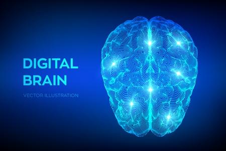 Cerveau. Cerveau numérique. Concept de science et technologie 3D. Réseau neuronal. Test de QI, technologie scientifique d'émulation virtuelle d'intelligence artificielle. Remue-méninges penser idée. Illustration vectorielle