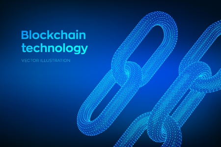 Block chain. Crypto currency. Hyperlink chain. Blockchain concept. 3D wireframe chain with digital code. Chain link with binary code. Editable cryptocurrency template. Stock vector illustration.
