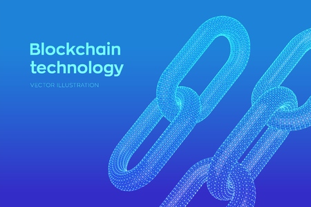 Block chain. Crypto currency. Hyperlink chain. Blockchain concept. 3D wireframe chain with digital code. Chain link with binary code. Editable cryptocurrency template. Stock vector illustration Ilustrace