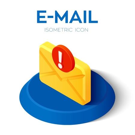 Icône isométrique de courrier électronique avec symbole d'attention. Icône de courrier électronique isométrique 3D avec panneau d'avertissement. Point d'exclamation. Symbole d'avertissement de danger. Créé pour mobile, Web, décor, application. Illustration vectorielle