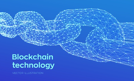 Block chain. Crypto currency. Blockchain concept. 3D Low polygonal chain consists of network connections. Concept of digital code. Editable cryptocurrency template. Vector illustration Vector Illustration