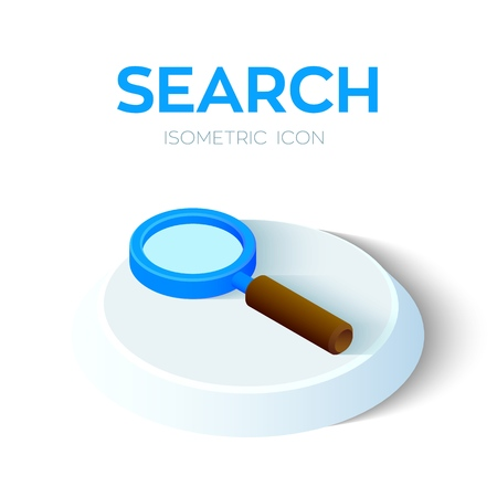 Search Icon. 3D Isometric Search sign. Created For Mobile, Web, Decor, Print Products, Application. Perfect for web design, banner and presentation. Vector Illustration Reklamní fotografie - 119059969