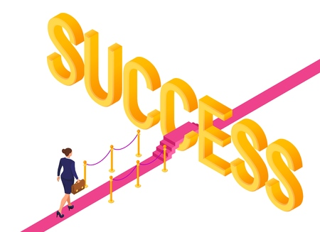 Road to success. Business Strategy Concept. Business woman with briefcase in hand walking on red carpet to the success. Strategy and solutions for business leadership. Creative Idea. Vector Çizim