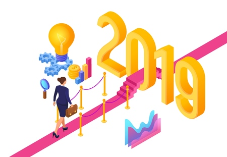 Business Strategy Concept. New Year. Path to New Year. Businesswoman with briefcase in hand walking on red carpet to the 2019 New Year. Creative Idea. Vector Illustration