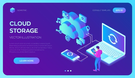 Cloud storage. Cloud Computing Technology Isometric Concept with Laptop and Smartphone Icons. User male character. Synchronization of devices. Vector illustration  イラスト・ベクター素材