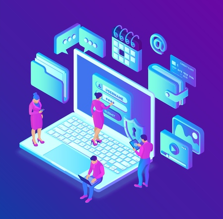 Data protection. Desktop pc with authorization form on screen, personal data protection. User male and female character. Data access, login form on screen. 3d isometric design. Vector illustration
