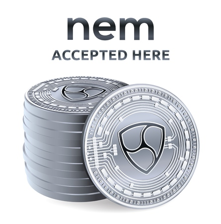 Nem. Accepted sign emblem. Crypto currency. Stack of silver coins with Nem symbol isolated on white background. 3D isometric Physical coins with text Accepted Here. Vector illustration  イラスト・ベクター素材