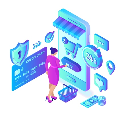 Online Einkaufen. 3D isometrischer Online-Shop. Online-Shopping auf der Website oder in der mobilen Anwendung. Frau Kundencharakter. E-Commerce-Verkauf. Bankkarte, Geld und Einkaufstasche. Vektor-Illustration