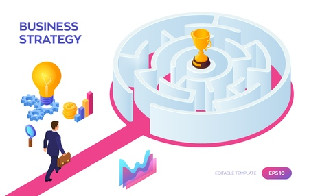 Businessman with briefcase in hand walking to the success through the labyrinth. Road to success. Gold Trophy Cup of the winner inside the maze. Business Strategy Concept. Vector Illustration