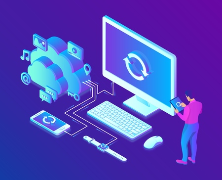 Cloud storage. Cloud Computing Technology Isometric Concept with Computer, Smartphone and Smart Watch Icons. User male character. Data transfer. Synchronization of devices. Vector illustration 写真素材 - 122785353