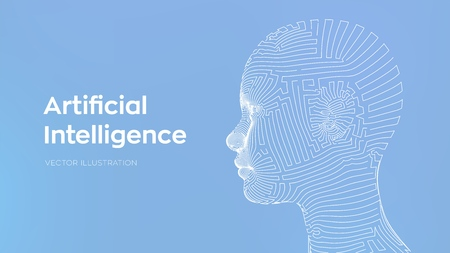 AI. Artificial intelligence concept. Ai digital brain. Abstract digital human face. Human head in robot digital computer interpretation. Robotics concept. Wireframe head concept. Vector illustration 写真素材 - 122785354