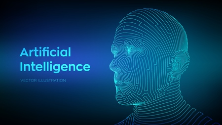 AI. Artificial intelligence concept. Ai digital brain. Abstract digital human face. Human head in robot digital computer interpretation. Robotics concept. Wireframe head concept. Vector illustration 写真素材 - 122785355