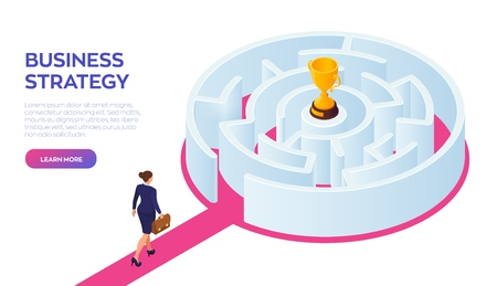 Businesswoman with briefcase in hand walking to the success through the labyrinth. Road to success. Gold Trophy Cup of the winner inside the maze. Business Strategy Concept. Vector Illustration Ilustração