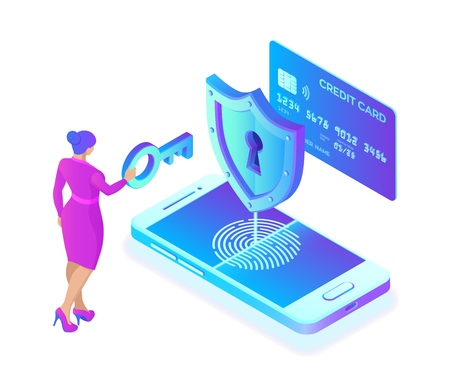 Secure payments. Data protection concept. Personal data protection. Credit card check and software access data as confidential. User woman character. 3d isometric flat design. Vector illustration 写真素材 - 122785356