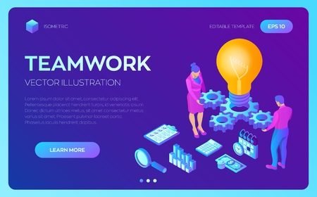 Business concept for teamwork, cooperation, partnership. Creative Idea. Isometric Idea concept. Light bulb with gears. Vector illustration infographic template with people, team, light bulb and icon