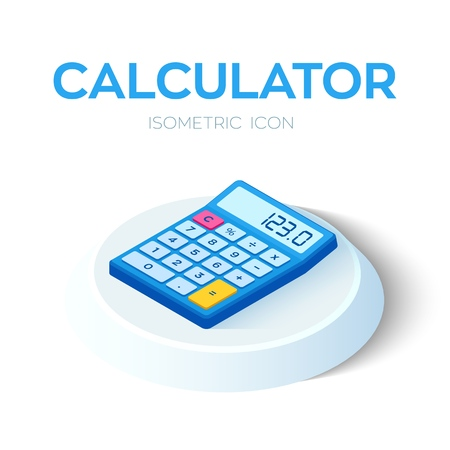 Calculator Icon. 3D Isometric Calculator icon. Created For Mobile, Web, Decor, Print Products, Application. Perfect for web design, banner and presentation. Vector Illustration