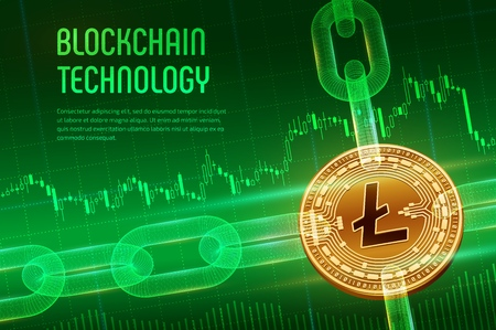 Litecoin. Crypto currency. Block chain. 3D isometric Physical golden Litecoin coin with wireframe chain on blue financial background. Blockchain concept. Editable Cryptocurrency template. Vector illus