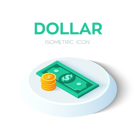Dollar. 3D Isometric Dollar banknote and coin icon. Created For Mobile, Web, Decor, Print Products, Application. Perfect for web design, banner and presentation. Vector Illustration