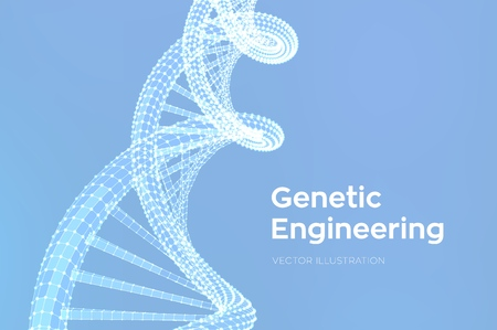 DNA sequence. Wireframe DNA molecules structure mesh. DNA code editable template. Science and Technology concept. Vector illustration