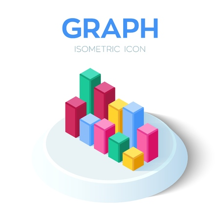 Graph Chart Icon. 3D Isometric Graph Chart sign. Created For Mobile, Web, Decor, Print Products, Application. Perfect for web design, banner and presentation. Vector Illustration  イラスト・ベクター素材