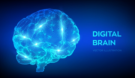 Brain. Digital brain. 3D Science and Technology concept. Neural network. IQ testing, artificial intelligence virtual emulation science technology. Brainstorm think idea. Vector illustration Illustration