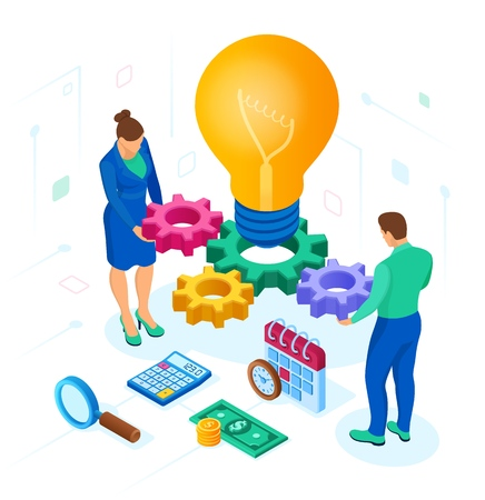 Business concept for teamwork, cooperation, partnership. Creative Idea. Isometric Idea concept. Light bulb with gears. Vector illustration infographic template with people, team, light bulb and icon 写真素材 - 122785366