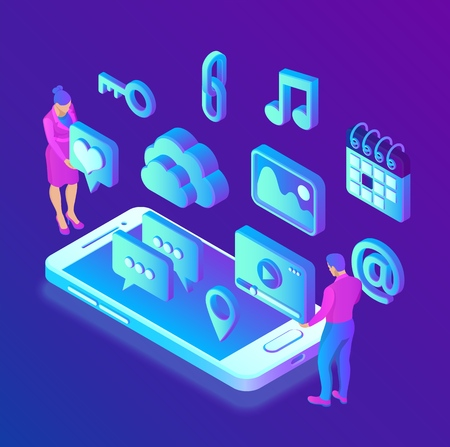 Social media apps on a smartphone. Social media 3d isometric icons. Mobile apps. Created For Mobile, Web, Decor, Application. Vector illustration infographic template with people and icons