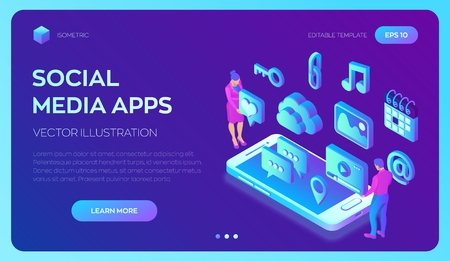 Social media apps on a smartphone. Social media 3d isometric icons. Mobile apps. Created For Mobile, Web, Decor, Application. Vector illustration infographic template with people and icons 写真素材 - 122785368