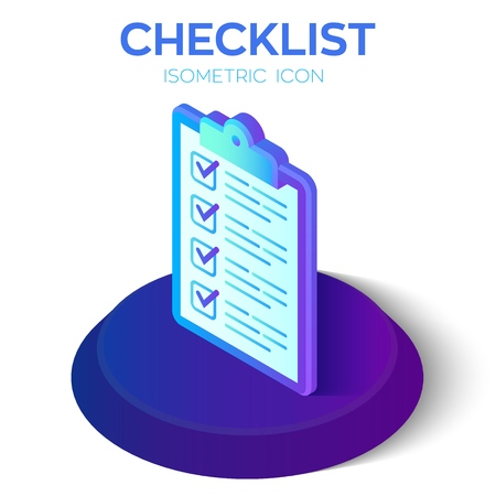 Checklist. 3D Isometric Checklist icon. Created For Mobile, Web, Decor, Print Products, Application. Perfect for web design, banner and presentation. Vector Illustration