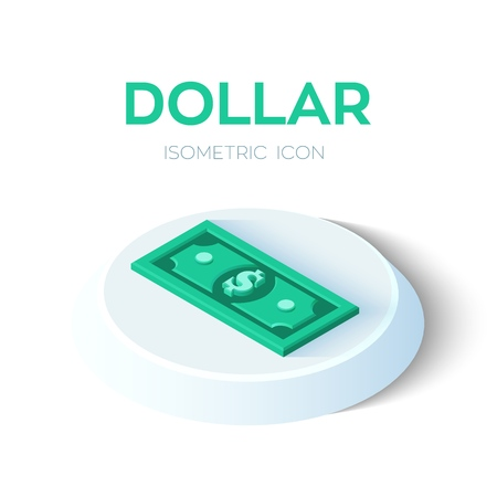 Dollar. 3D Isometric Dollar banknote icon. Created For Mobile, Web, Decor, Print Products, Application. Perfect for web design, banner and presentation. Vector Illustration 写真素材 - 122785369