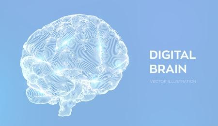 Brain. Digital brain. 3D Science and Technology concept. Neural network. IQ testing, artificial intelligence virtual emulation science technology. Brainstorm think idea. Vector illustration Vettoriali