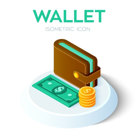 Wallet Icon. 3D Isometric Wallet icon with money. Dollar. Payment concept. Created For Mobile, Web, Decor, Application. Perfect for web design, banner and presentation. Vector Illustration Illustration