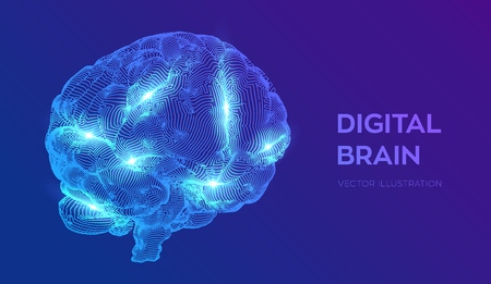 Brain. Digital brain. 3D Science and Technology concept. Neural network. IQ testing, artificial intelligence virtual emulation science technology. Brainstorm think idea. Vector illustration  イラスト・ベクター素材
