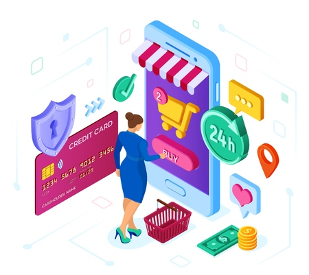 Online shopping. 3D isometric online store. Shopping Online on Website or Mobile Application. Woman customer character. E-commerce sales. Bank card, money and shopping bag. Vector illustration  イラスト・ベクター素材