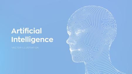 AI. Artificial intelligence concept. Ai digital brain. Abstract digital human face. Human head in robot digital computer interpretation. Robotics concept. Wireframe head concept. Vector illustration 写真素材 - 122785376