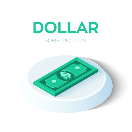 Dollar. 3D Isometric Dollar banknote icon. Created For Mobile, Web, Decor, Print Products, Application. Perfect for web design, banner and presentation. Vector Illustration