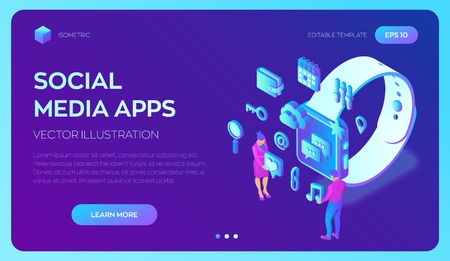 Social media apps on a Smart Watch. Social media 3d isometric icons. Mobile apps. Created For Mobile, Web, Decor, Application. Vector illustration infographic template with people and icons  イラスト・ベクター素材