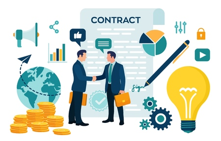Partnership Concept. Financing of creative projects. Handshake of two business men. Agreement of parties. Signing documents. The investor holds money in ideas. Business team. Vector illustration