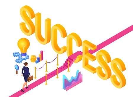 Road to success. Business Strategy Concept. Business woman with briefcase in hand walking on red carpet to the success. Strategy and solutions for business leadership. Creative Idea. Vector Ilustração