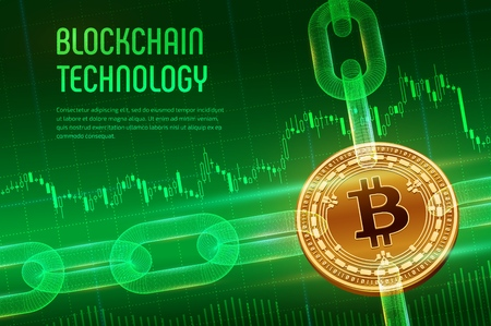 Crypto currency. Block chain. Bitcoin Cash. 3D isometric Physical golden Bitcoin Cash with wireframe chain on blue financial background. Blockchain concept. Editable template. Vector illustration. 写真素材 - 122785393