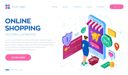 Online shopping. 3D isometric online store. Shopping Online on Website or Mobile Application. Woman customer character. E-commerce sales. Bank card, money and shopping bag. Vector illustration Illustration